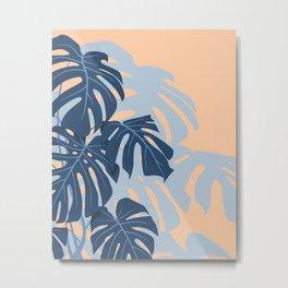 Monstera leaves (Blue and Peachy) Metal Print