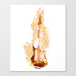 Electric Guitar On Fire Rock Music Guitarist Player Canvas Print