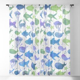 Blue Green Watercolor Fish Pattern Sheer Curtain