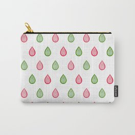 Pink and green raindrops Carry-All Pouch