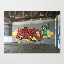 Graffiti in abandon warehouse Canvas Print