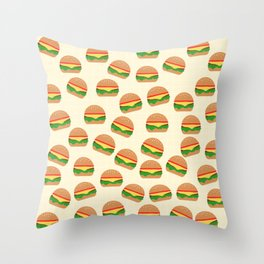 Cute Burgers Throw Pillow