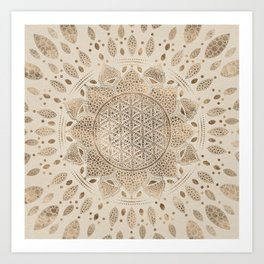 Flower of Life in Lotus Dot Art pastel golds and canvas Art Print