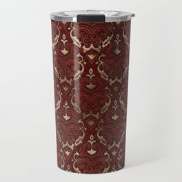 Persian Oriental Pattern - Red Leather and gold Travel Mug