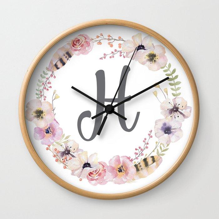 Floral Wreath - H Wall Clock