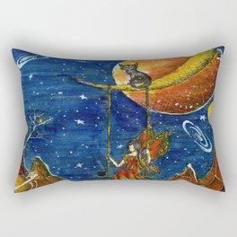 A cat and a girl Rectangular Pillow