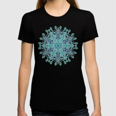 Peppermint Snowflake on Cream MEDIUM Womens Fitted Tee Black