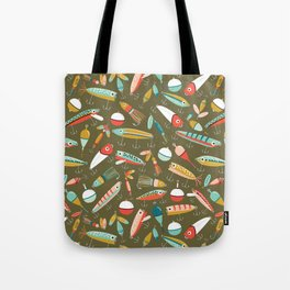 Fishing Lures Green Tote Bag