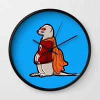 superhero Wall Clocks featuring meerkat SuperHero by  Steve Wade ( Swade)