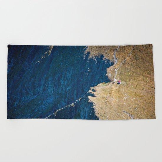 Yellow blue land Beach Towel