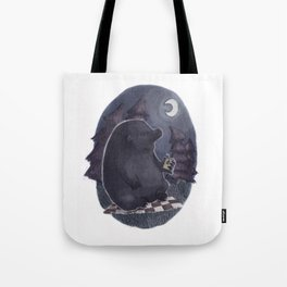 Bear on a Midnight Picnic Tote Bag