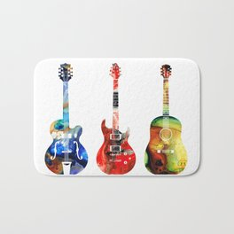 Guitar Threesome - Colorful Guitars By Sharon Cummings Bath Mat