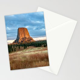 Devils Tower - Giant Monolith Drenched in Sunlight on Autumn Day in Wyoming Stationery Cards