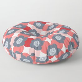 Mid Century Modern Flower Trellis Pattern Red Coral and Slate Blue Gray Floor Pillow