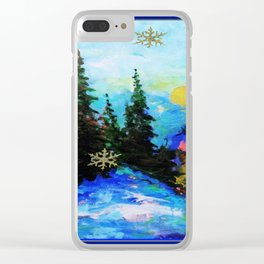 Blue Snowy Mountain Scenic Landscape Clear iPhone Case