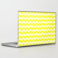 chevron Laptop & iPad Skins featuring Chevron (Yellow/White) by 10813 Apparel