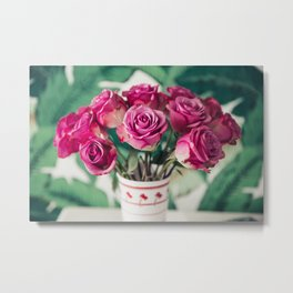 Purple Roses Against Banana Palms Metal Print