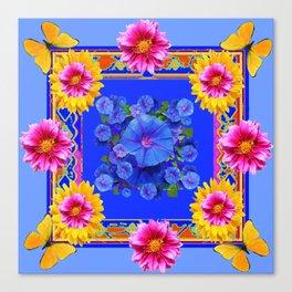 BUTTERFLIES FUCHSIA DAHLIA SUNFLOWER MORNING GLORY BLUE  FLORAL Canvas Print