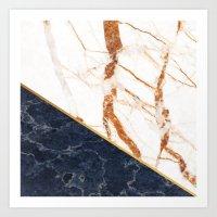 Classy Elegant White Blue Gold Marble Art Print