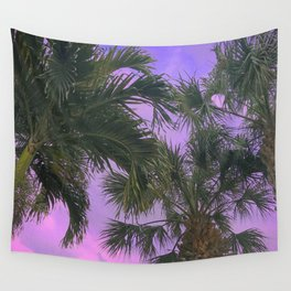 Purple Sky Palms Wall Tapestry