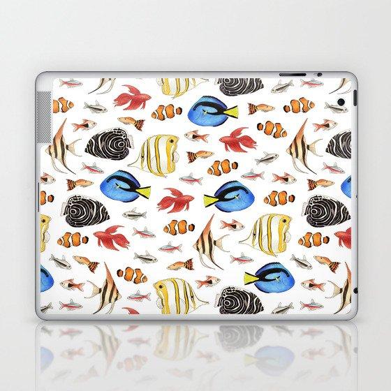 Tropical Fish on White - pattern Laptop & iPad Skin