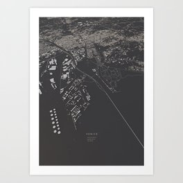 Venice city map Art Print