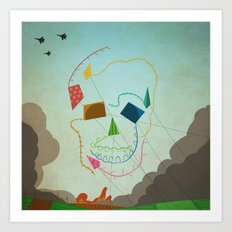 flying skull Art Print