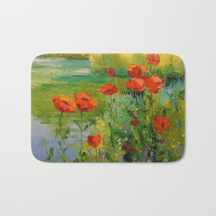 Poppies by the pond Bath Mat