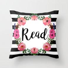 Read - Stripes & Flowers Throw Pillow