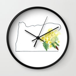 or // oregon grape watercolor state flower map Wall Clock
