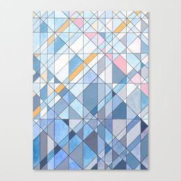 Triangle Pattern no.17 Light Blues Canvas Print