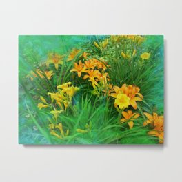 Day-glo Lilies Metal Print