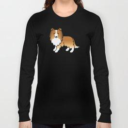 Sable Shetland Sheepdog Dog Cartoon Illustration Long Sleeve T-shirt