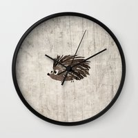 hedgehog Wall Clocks featuring Hedgehog by Mr & Mrs Quirynen