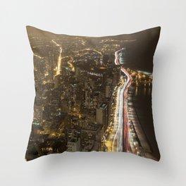 Lakeshore Chicago Night Shot Throw Pillow