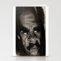 nick cave Stationery Cards featuring Nick Cave by Patrick Dea