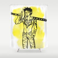 law Shower Curtains featuring Trafalgar Law by Sammerdoodle Designs