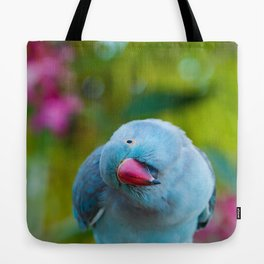 Blue Bird and Flowers Tote Bag