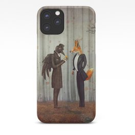 Raven and Fox in  a dark forest looking at the watch iPhone Case