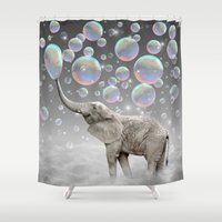 monika strigel Shower Curtains featuring The Simple Things Are the Most Extraordinary (Elephant-Size Dreams) by soaring anchor designs