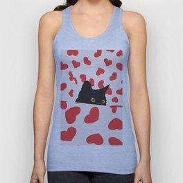 Black Cat Hiding in the Hearts Unisex Tank Top