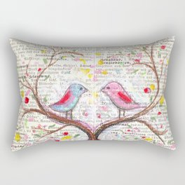 Birds and thoughts and love and magic Rectangular Pillow