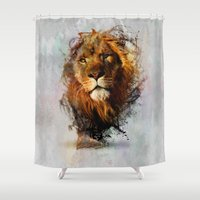 water color Shower Curtains featuring Water Color Splash Lion by naturessol