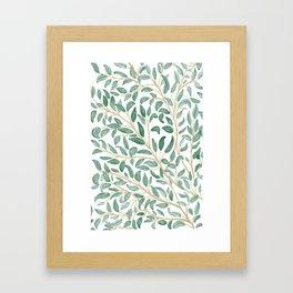 Green Leaf Pattern Framed Art Print