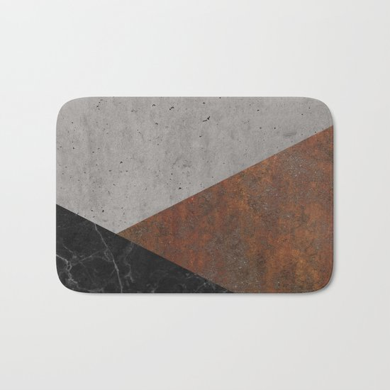 Concrete, rusted iron, marble abstract Bath Mat