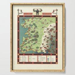 Vintage Map Print - 1924 fantasy pictorial map - The Rail Way Map Serving Tray