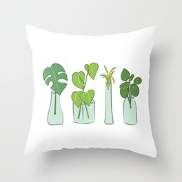 Plants in water bottles, colorful hand drawn illustration art Throw Pillow
