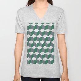 Diamond Repeating Pattern In Quetzal Green and Grey Unisex V-Neck