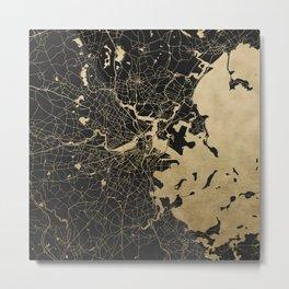 Boston Gold and Black Invert Metal Print