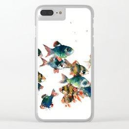 Barb Fish, Aquatic Blue Turquoise Underwater Scene Clear iPhone Case